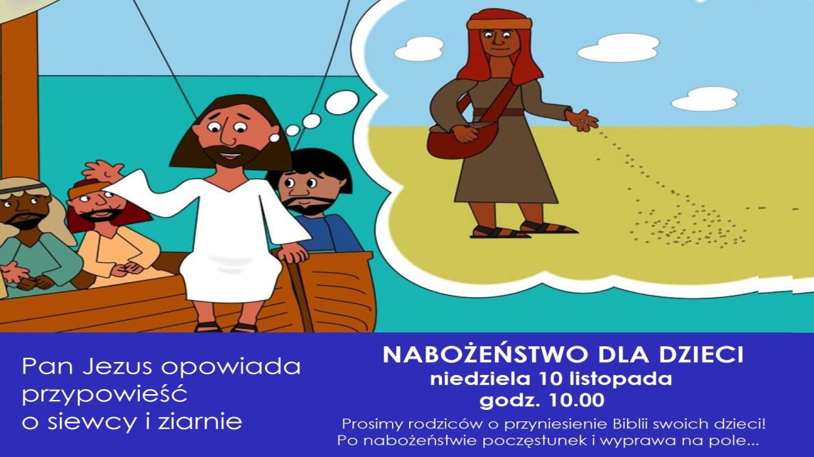 Plakat-zaproszenie przypowieść o siewcy